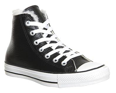 Converse All Star Hi Leather Lining 132125C Lea Black shearling coat ... 0d8a7d9842c4