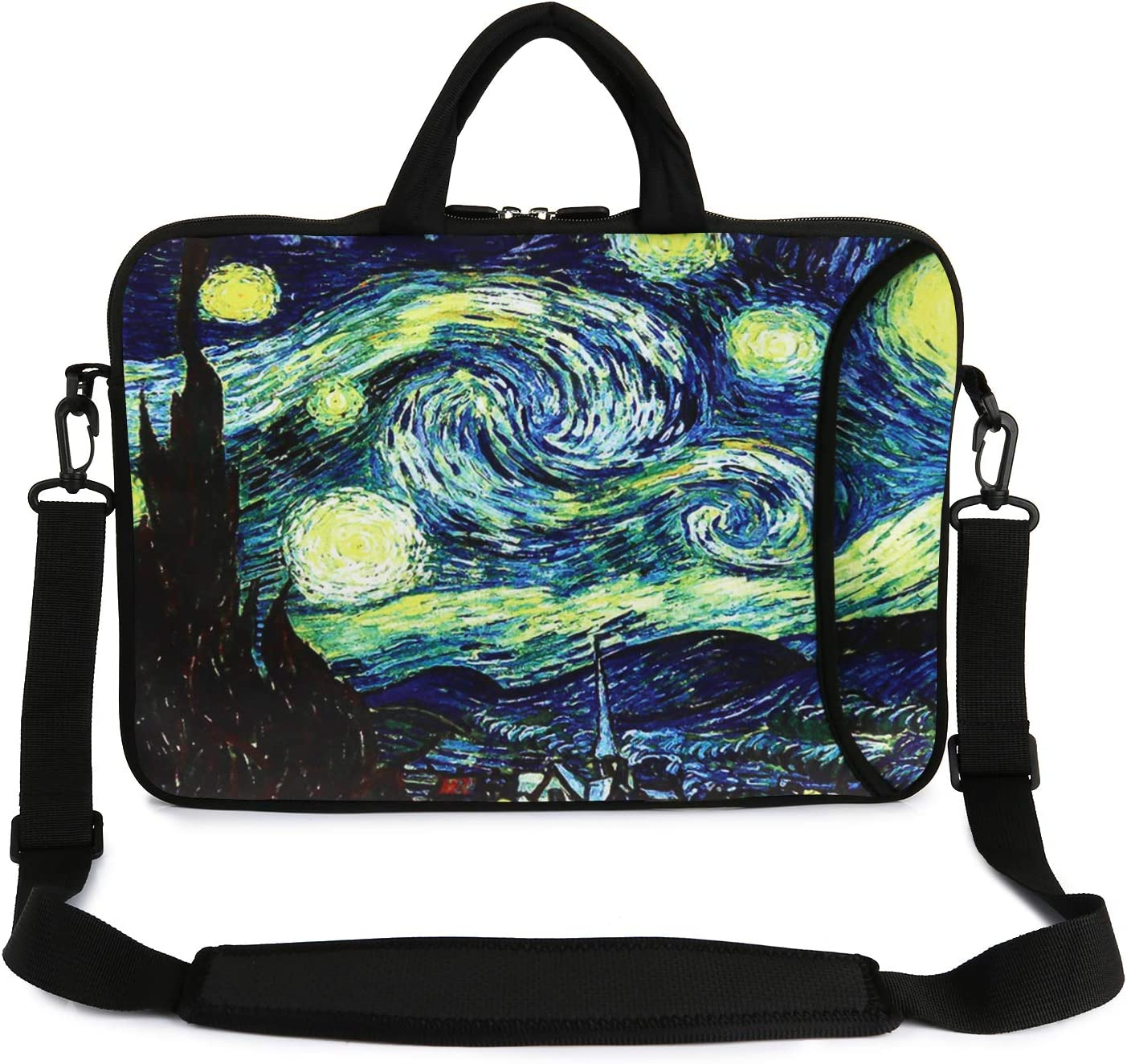 "Violet Mist 13"" 15"" 15.6"" Neoprene Laptop Sleeve Bag Waterproof Sleeve Case Adjustable Shoulder Strap External Pocket(14"" 15""-15.6"", Starry Sky)"