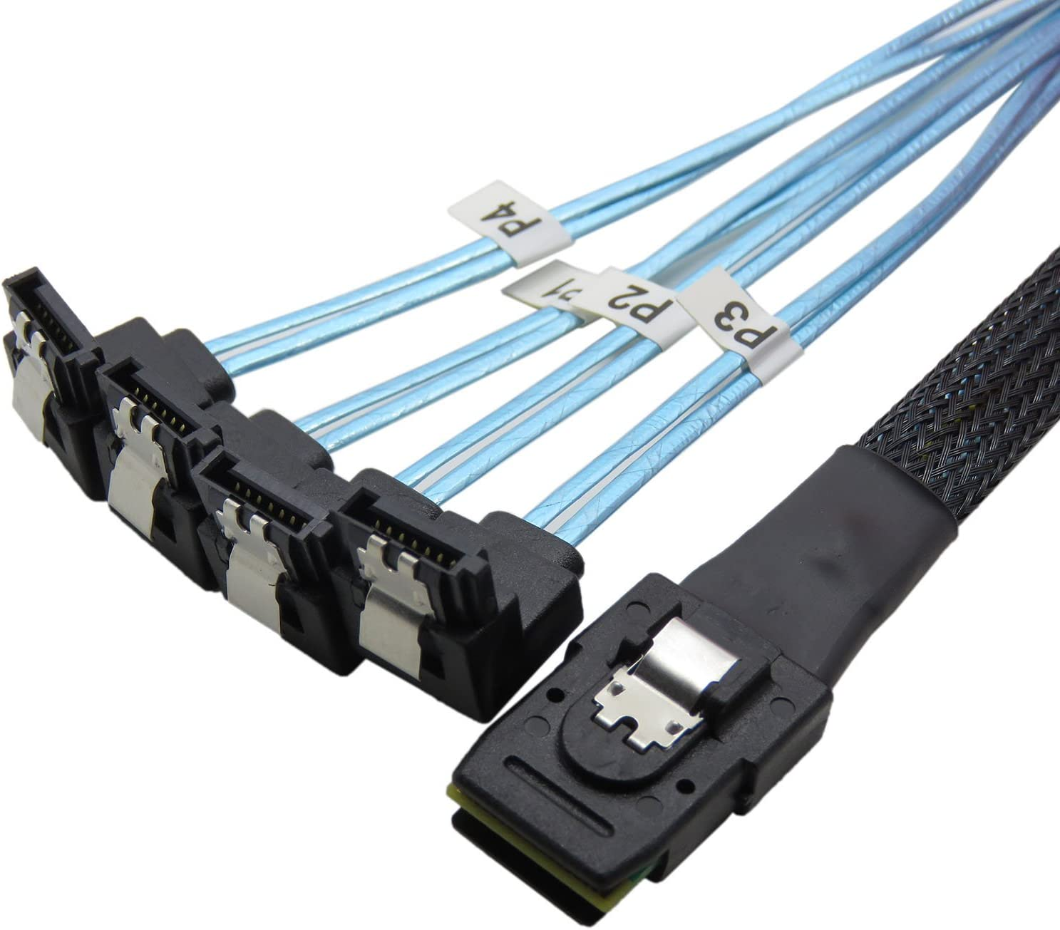 CableDeconn 18' Mini SAS 36P SFF-8087 To 4 SATA 7Pin 90 Degrees Target Hard Disk Data Cable 0.5M (H0304)