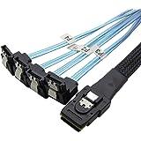 CableDeconn 18' Mini SAS 36P SFF-8087 To 4 SATA 7Pin 90 Degrees Target Hard Disk Data Cable 0.5M