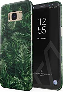 BURGA Phone Case Compatible with Samsung Galaxy S8 - Tropical Exotic Summer Green Palm Tree Leaf Nature Plant Leaves Cute Case for Women Thin Design Durable Hard Plastic Protective Case
