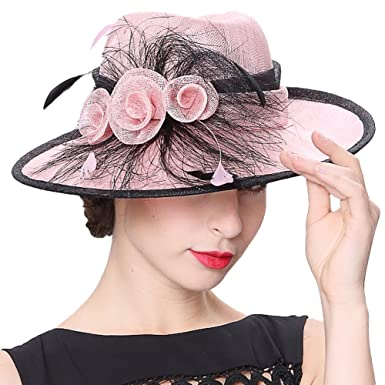 June s Young Sun Hats women Hat Pink Black Brim at Amazon Women s ... aa61fa754548