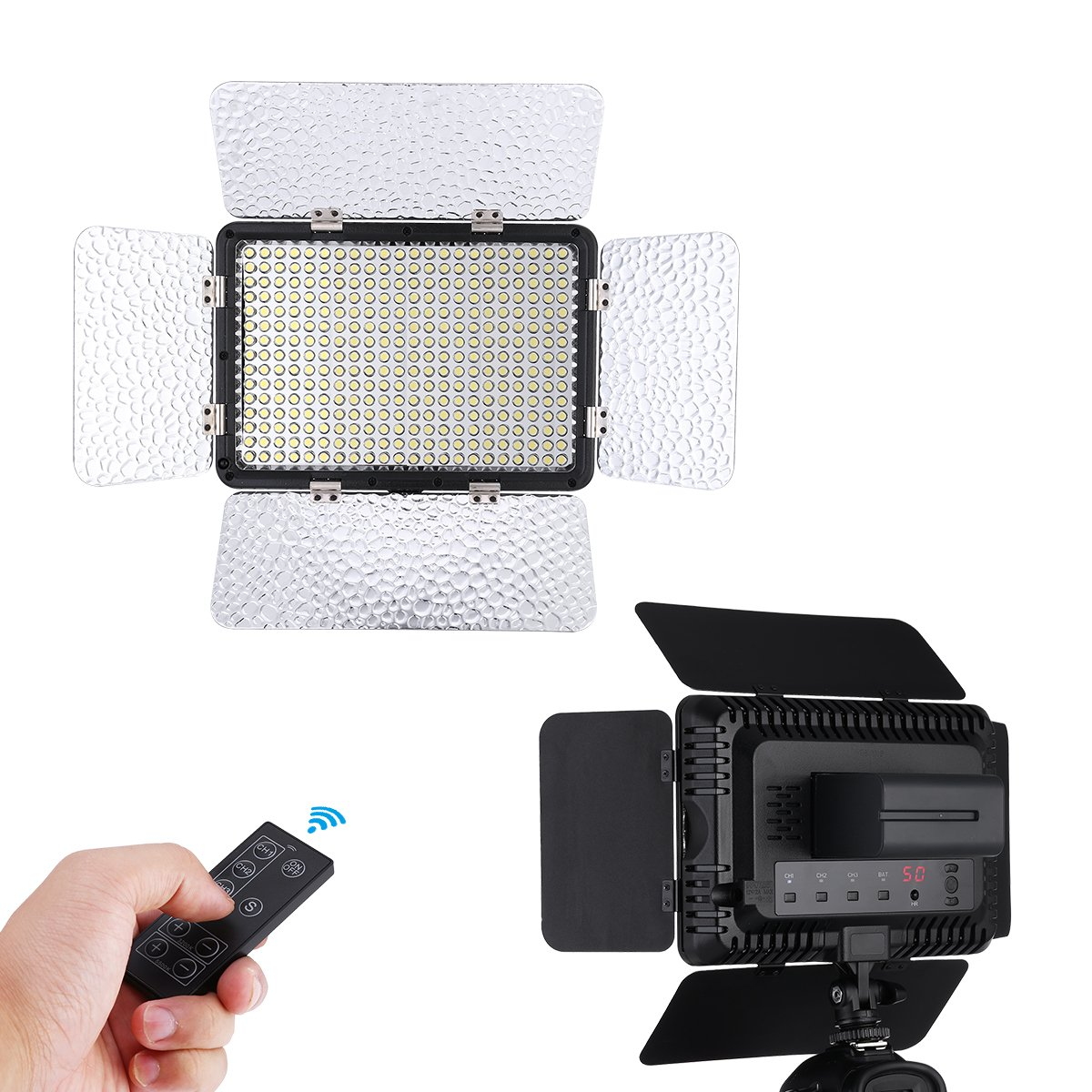 Powerextra 330 Beads 25W LED Video Light Panel Dimmable Camera/Camcorder Light, 2.4G Remote Control, Diffuser, 2 Color Filters(Orange and Blue) for All DSLR Cmeras