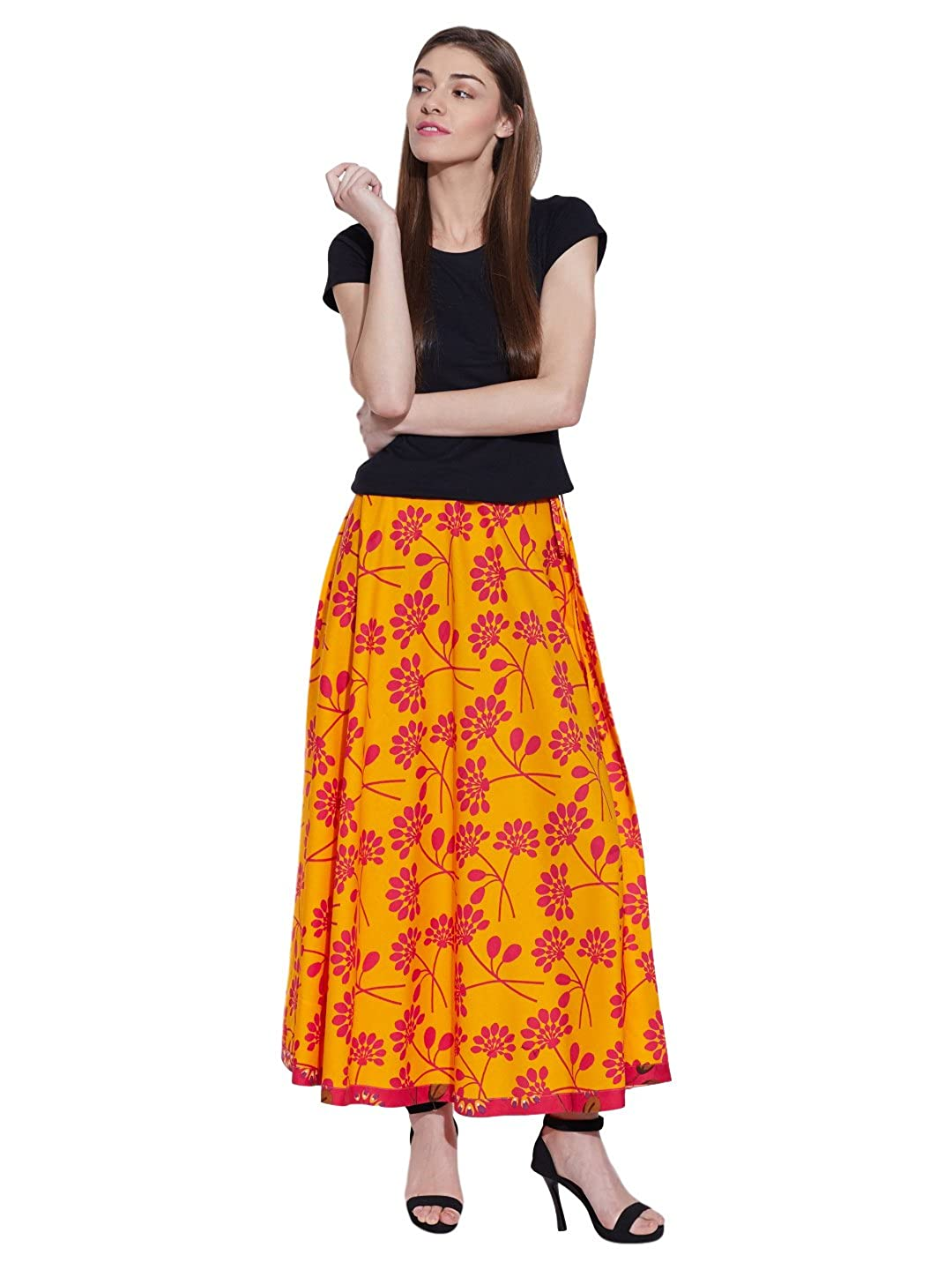 Amazon.com  Shalinindia High Waisted Pleated Skirt Floral Yellow Summer  Clothes For Women Yellow Large  Clothing e287e61516
