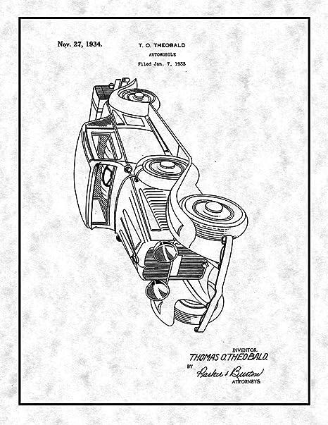 Amazon Com Automobile Patent Print Gunmetal With Border 8 5 X 11