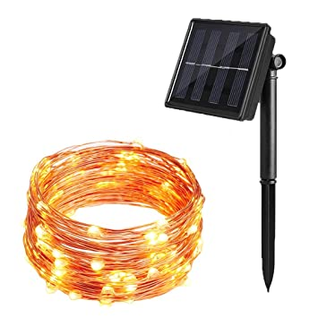 Solar Powered Copper Wire Lights Attav 33ft 100 Leds Starry String Lights Waterproof Fairy