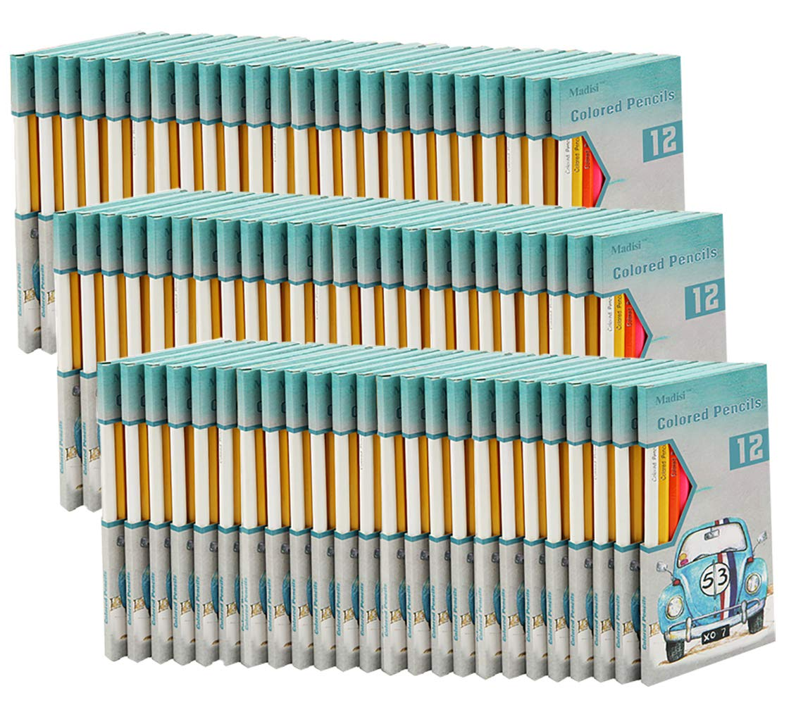 Madisi Colored Pencils Bulk - Non-Toxic Pre-Sharpened - 72 Packs of 12-Count - Class Pack by Madisi