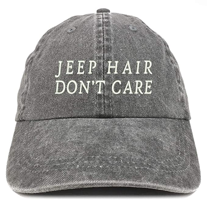 05b7cea210e77 Jeep Hair Don t Care Embroidered Cotton Adjustable Washed Cap- Black ...