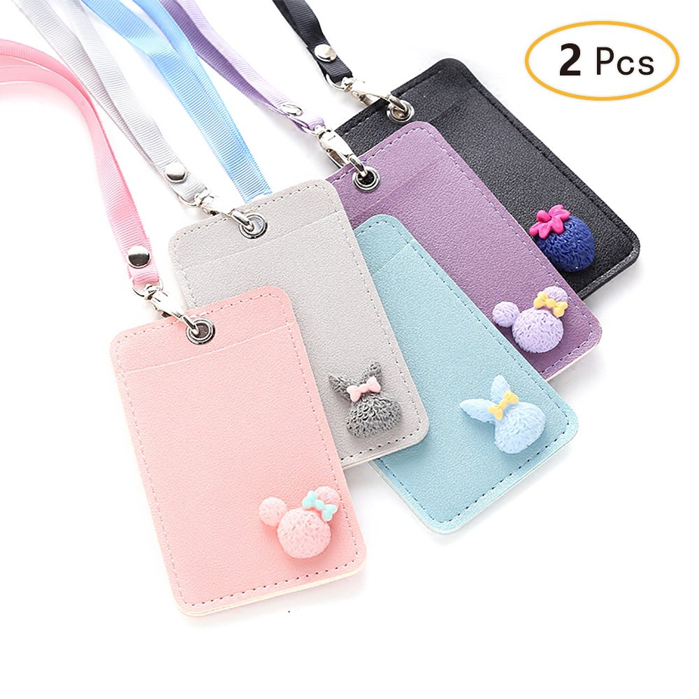 Jia Hu 2Pcs Cartoon Color ID Card Holder Name Badge Holders with Neck Strap for School Office Bus Pass Randomly