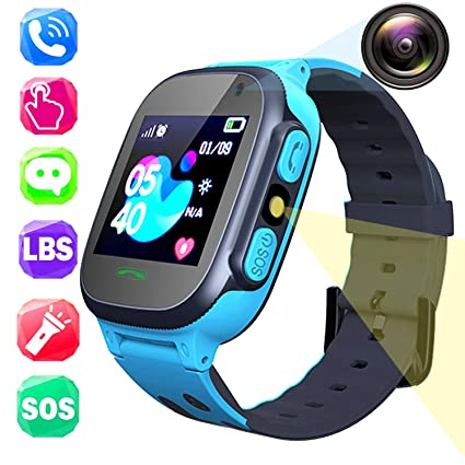 PTHTECHUS Kids Smartwatch Phone - Boys Girls Touch Screen Watch with LBS Position Tracker Two Way Call Voice Chat SOS Camera Games Student Watches ...