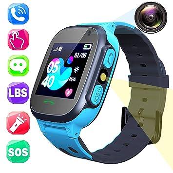 Teléfono Smartwatch para Niños, Pantalla Táctil 1.44 LBS Rastreador para Chat de Voz Comunicación Llamada con Cámara SOS Linterna Juego Relojes ...