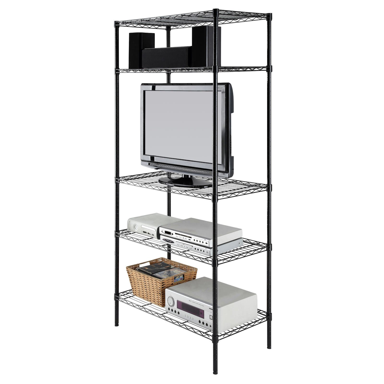 Garage Storage 5 Tier Shelving Unit Black Shelf Deep Shelves