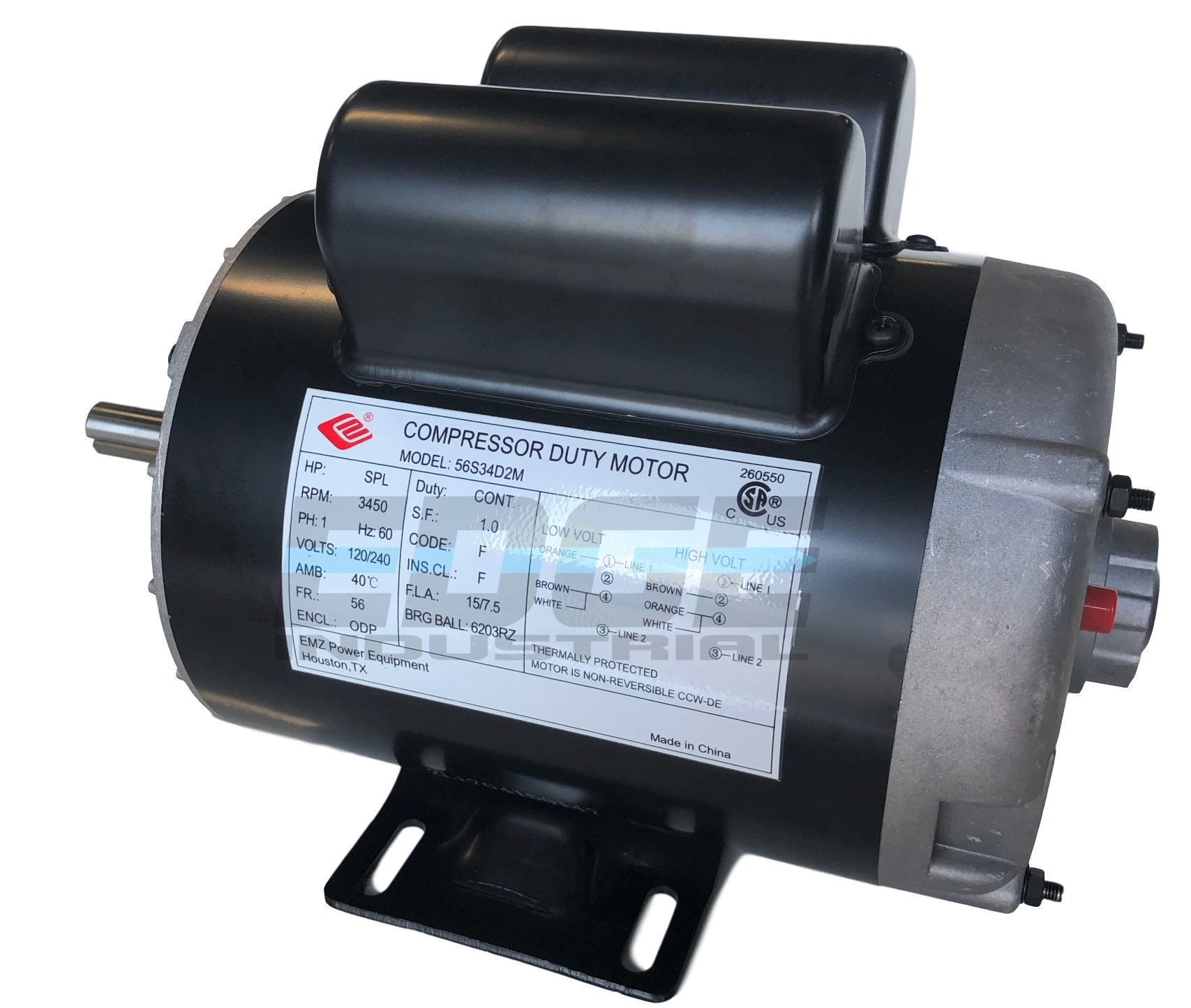 NEW 2 HP SPL Compressor Duty Electric Motor, 3450 RPM, 56 Frame, 5/8'' Shaft Diameter,120/240 VOLT by EDGE INDUSTRIAL EMZ (Image #2)