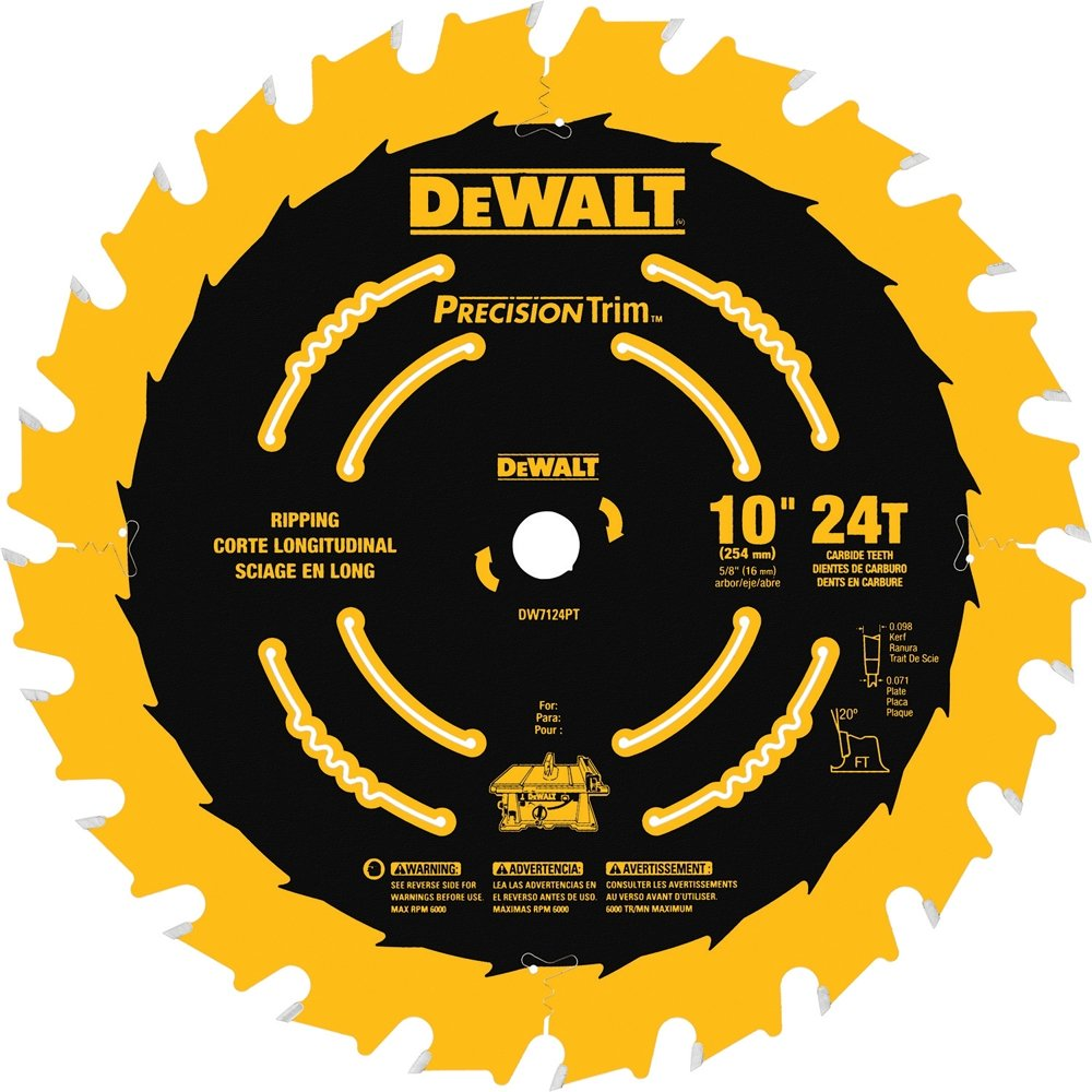 DEWALT DW7124PT 10-Inch 24 Tooth ATB Ripping Saw Blade with 5/8-Inch Arbor and Tough Coat Finish