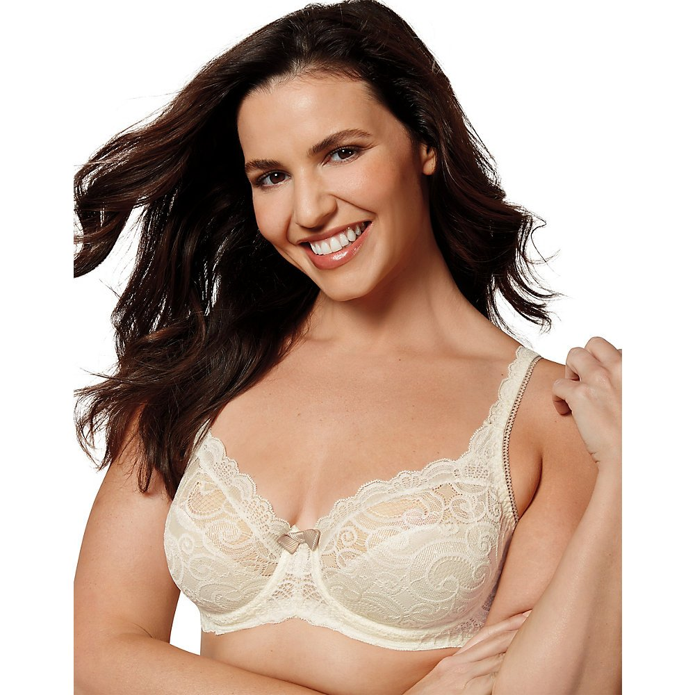 Playtex Women's Love My Curves Beautiful Lace and Lift Underwire, Gardenia, 36DD