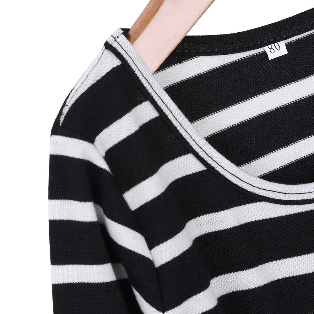 KaiCran New Long Sleeves Stripe Print Dress Elegant Long Dress for Mother and Daughter