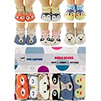 Baby Socks Toddler Girls Anti Slip Cartoon Animal 1 Year Old Gift Best Non Skid Cotton Sock from Tiny Captain (Pink…