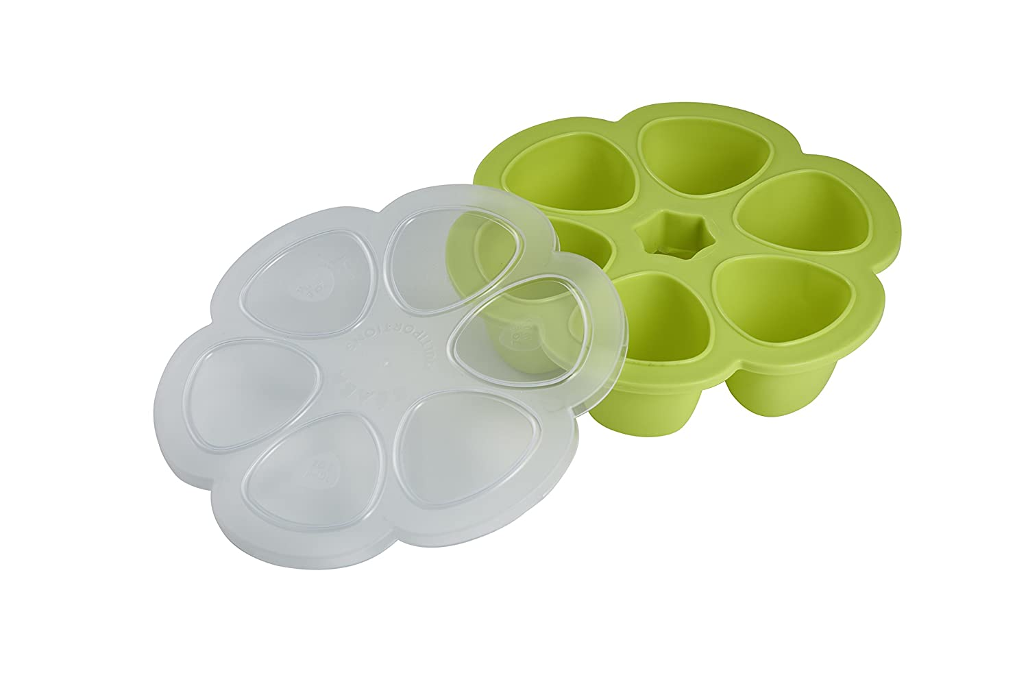 BEABA Silicone Multiportions Baby Food Tray, Oven Safe, Made in Italy, Neon, 3 oz