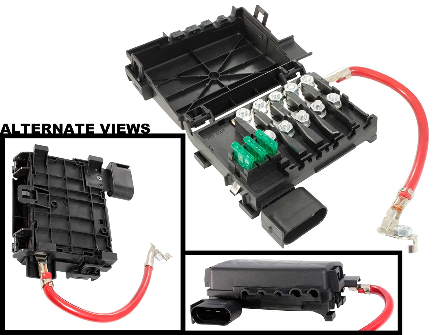 APDTY 035791 Fuse Box embly Battery Mounted w/New Fuses ... on jetta alternator, jetta door panel, jetta cam sensor, jetta motor mount, jetta bumper guard, jetta trailing arm, jetta hood release, jetta sway bar, jetta loaded beam axle, jetta console, jetta fuse tool, jetta slave cylinder, jetta catalytic converter, jetta fuse card, jetta battery, jetta firing order, jetta relay box, jetta sportwagen 2011 fuse diagram, jetta shifter cable, jetta cigarette lighter fuse,