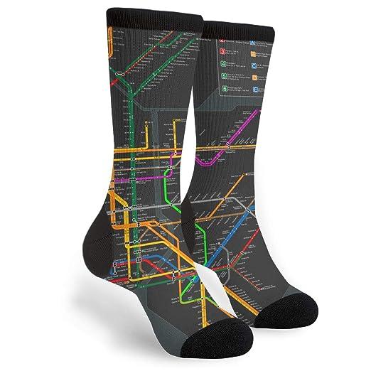 New York Subway Map Crew Socks - Fun Novelty Socks - Unisex, One