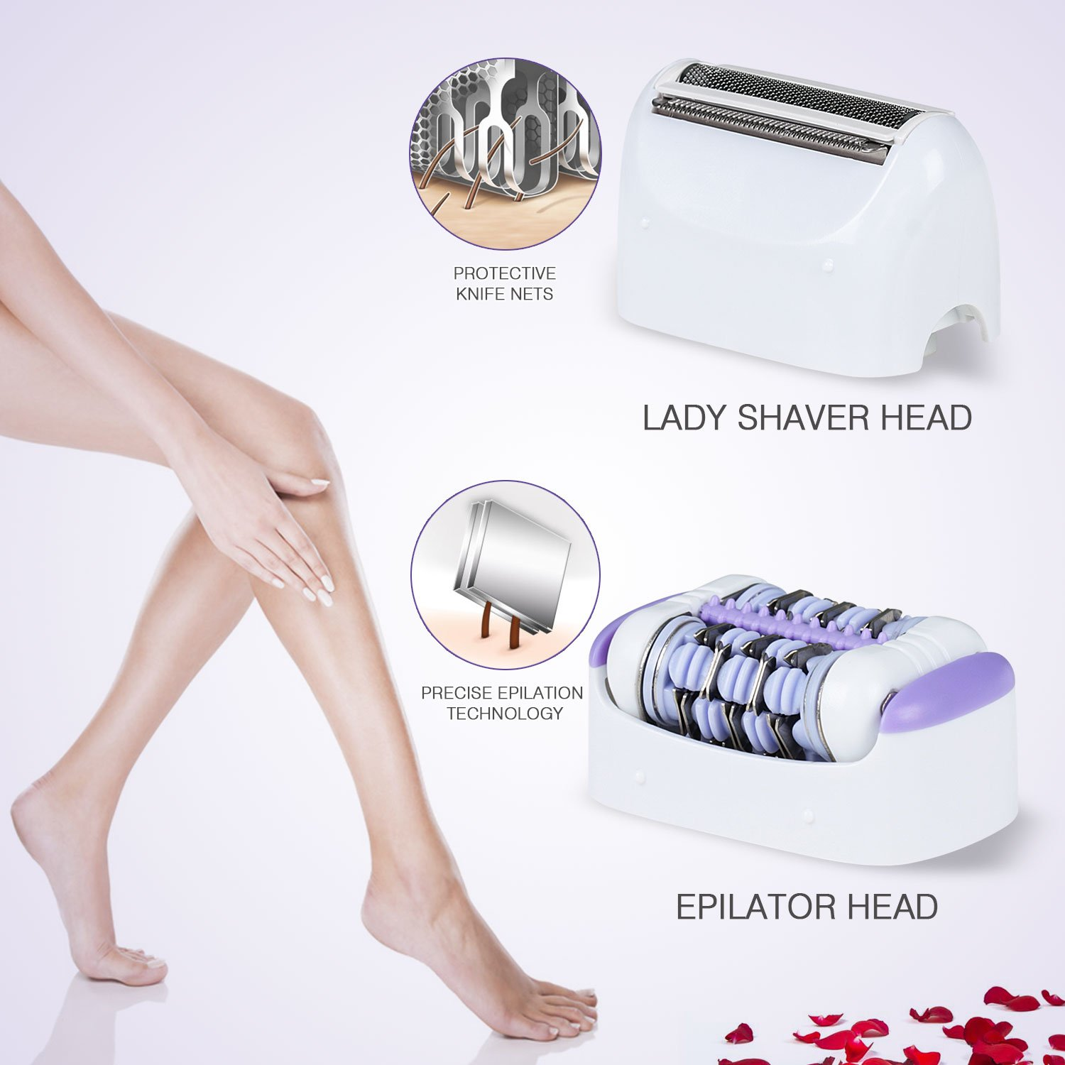 Hangsun Wet And Dry Epilator Cordless F210 Epilators For Women Car Fuse Box Electric Rechargeable Lady Shaver Hair Removal 2 Attachments Health
