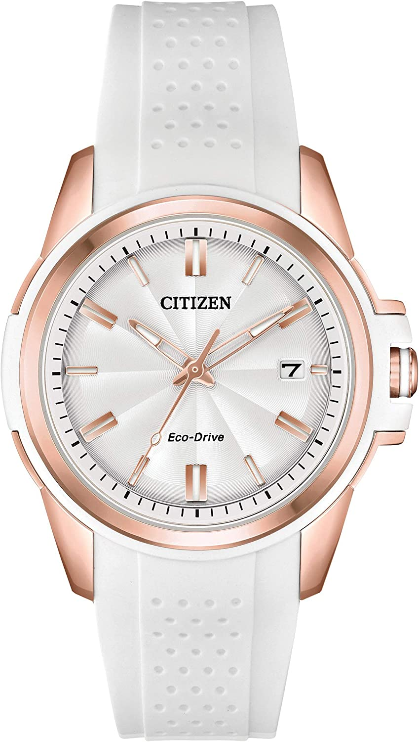Citizen Women's Drive Stainless Steel Quartz Watch with Silicone Strap, White, 20 (Model: FE6136-01A)