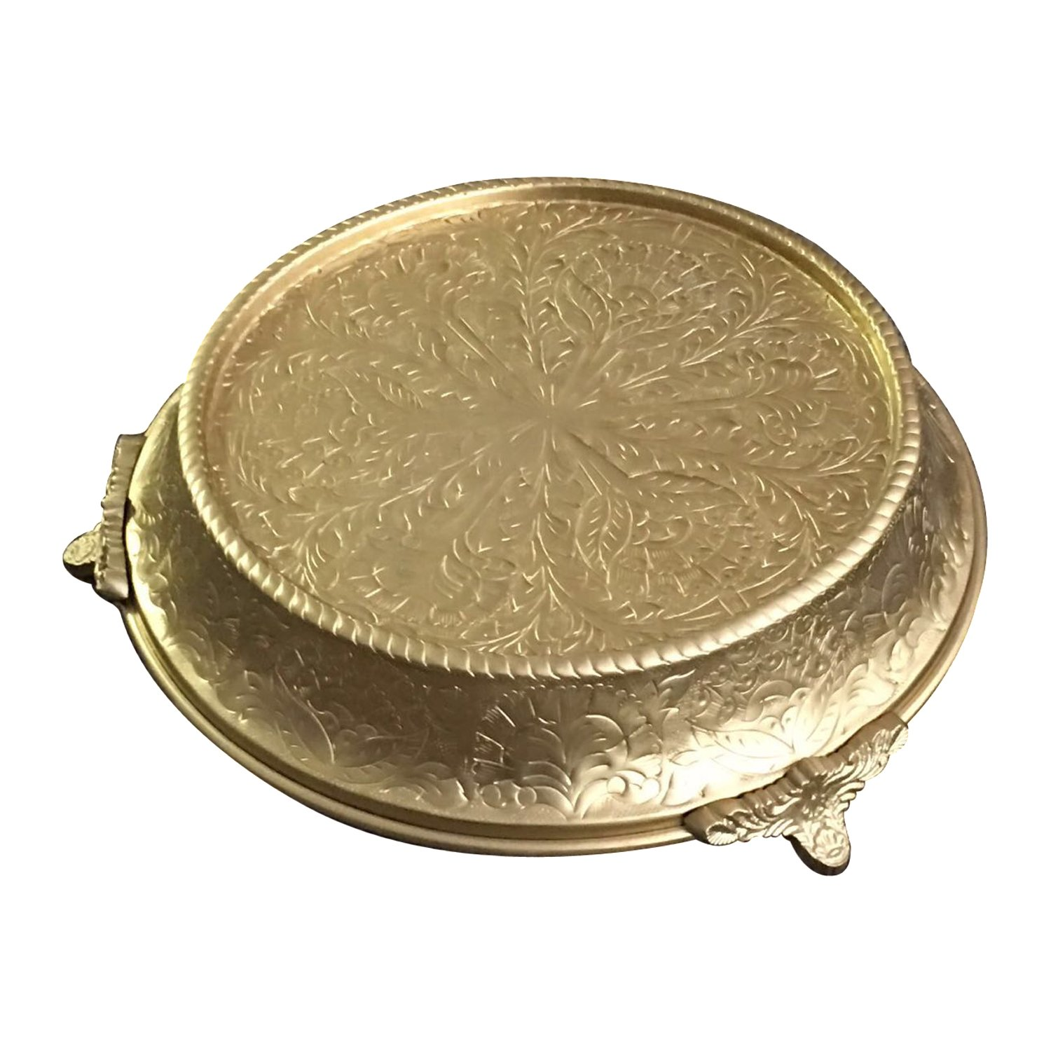 GiftBay Creations Wedding Cake Stand Tapered 16'' Round, Gold Finish, built of strong Aluminum for Multi-Layer Cake Weight. (CSG64416)