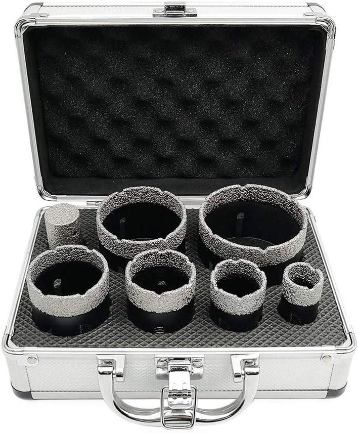 SHDIATOOL 7-Piece Diamond Hole Saw Kit for Porcelain Tile Ceramic Marble Brick Vacuum Brazed Core Drill Bits Set(A85458K3)