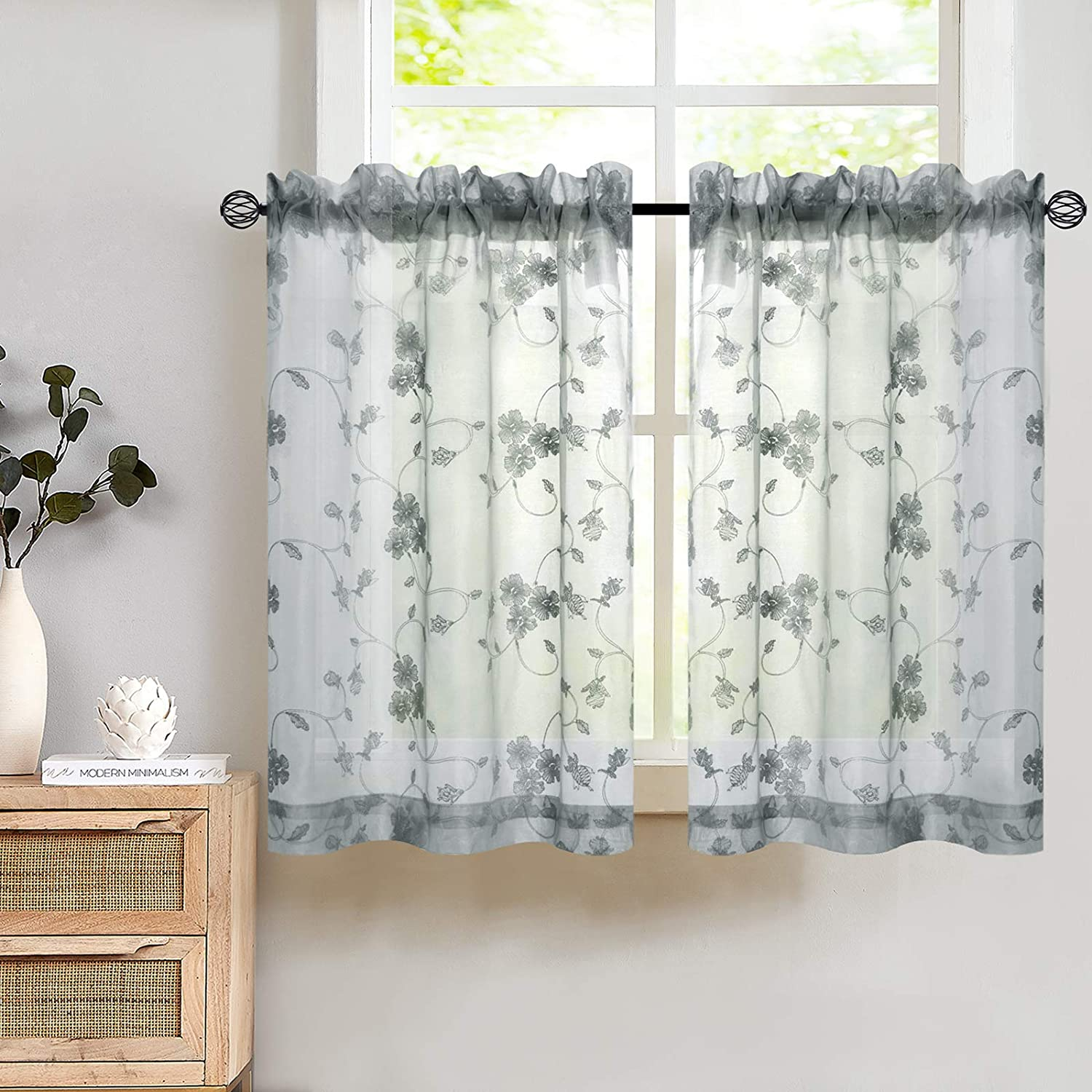 Tier Curtains 122 Inch Length Kitchen Cafe Floral Embroidered Sheer Window  Drapes Grey Semi Sheers Voile Floral Curtain Rod Pocket for Bathroom 12 Pair