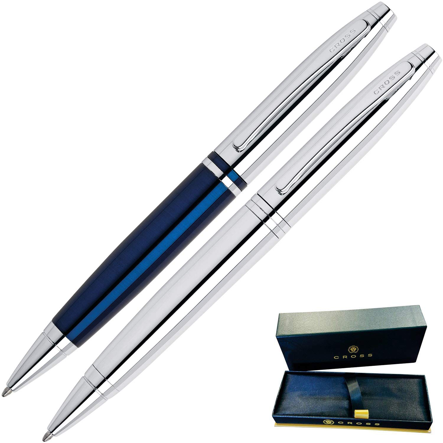 Dayspring Pens | Engraved/Personalized Cross Calais Gift Double Gift Pen Set -1 Chrome and 1 Blue Pen. Custom Engraved Fast! by Dayspring Pens (Image #2)