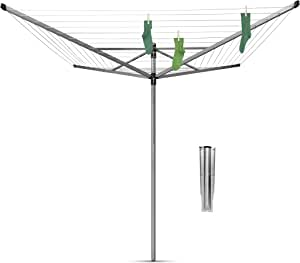 Brabantia Lift-O-Matic Tendedero de Jardín con Soporte, Acero Inoxidable, Gris Metalizado, 60 m de Cuerda: Amazon.es: Hogar