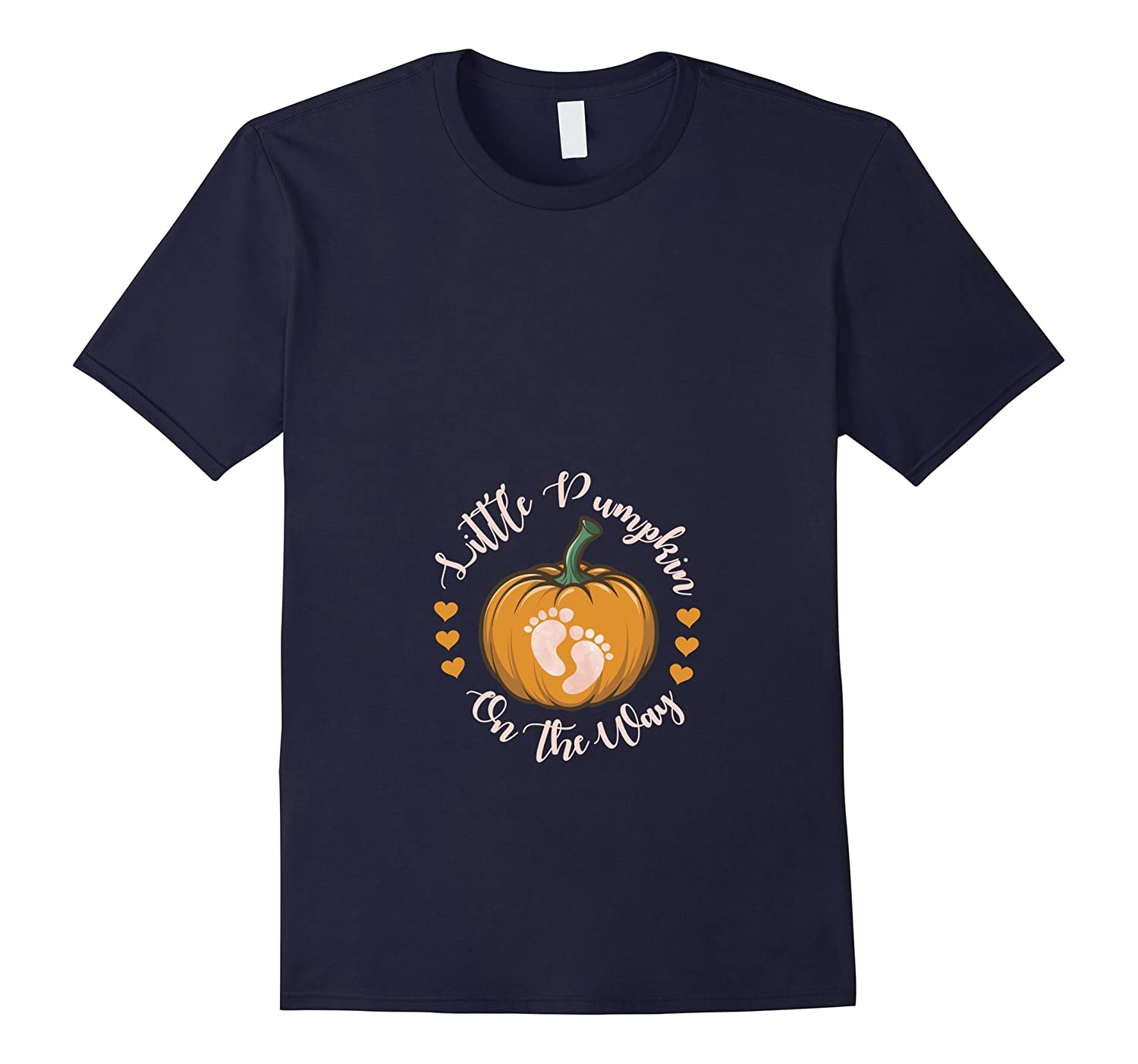 Little Pumpkin On The Way Funny Halloween Pregnancy Shirt-T-Shirt