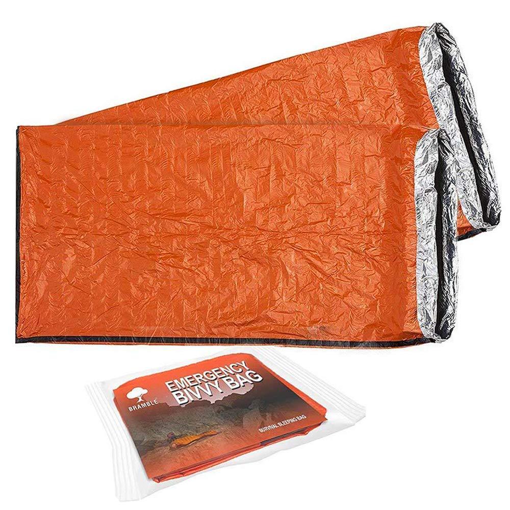 2 Premium Saco de Dormir de Emergencia, Bivvy - Saco de Dormir de Supervivencia, Supervivencia Impermeable Manta - Aislamiento Térmico - Alta Visibilidad, ...