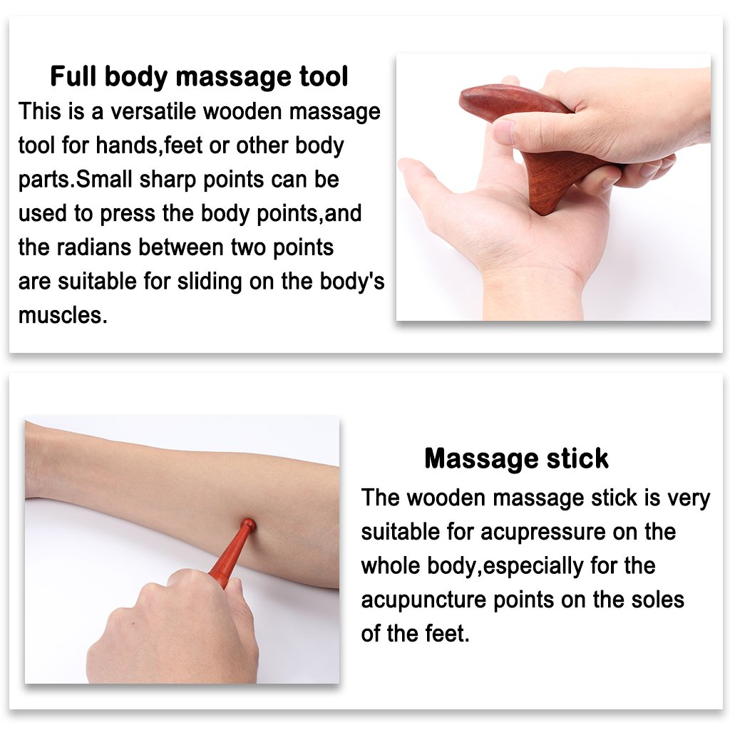 ewinever Professional Full Set of 4 Pcs Reflexology Tool Traditional Thai Massage Hand Foot Face Body Acupoint Massager Natural Red Wood