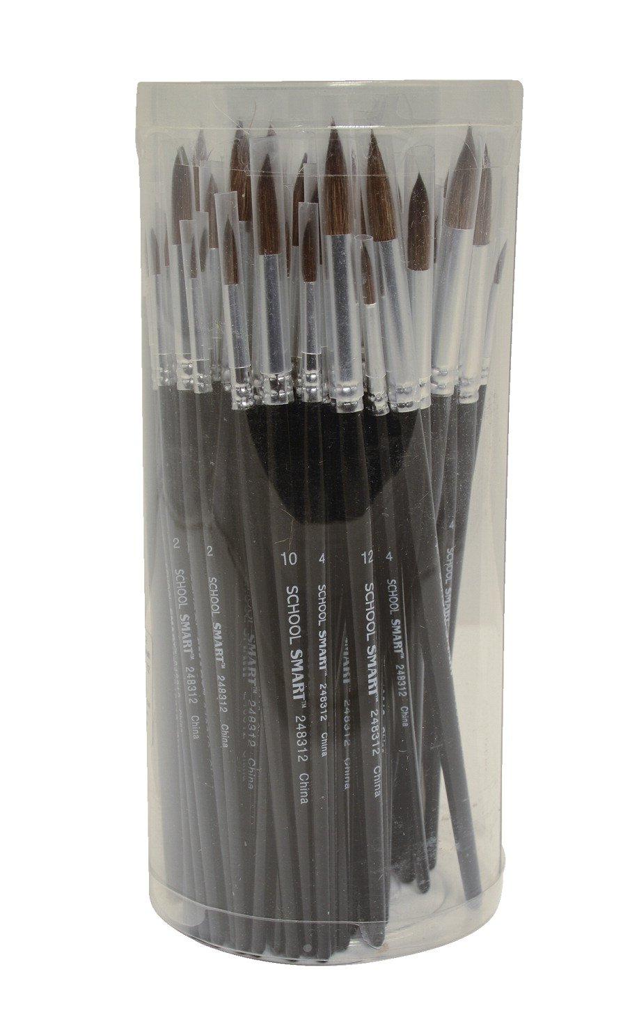 School Smart 248312 Camel Hair Watercolor Brush - Assorted Sizes - Set of 72 - Black