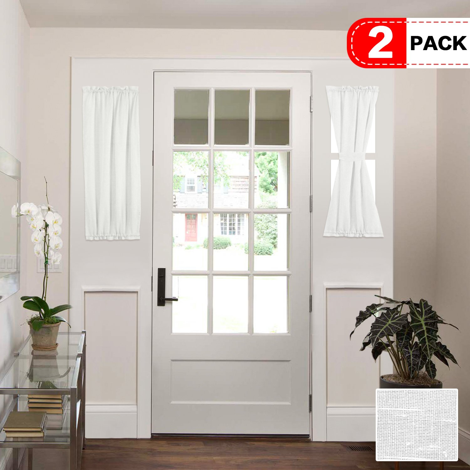size 40 608b4 5165e H.VERSAILTEX White Patio Door Curtain Panels Energy Saving Easy Care Short  French Door Curtains, Side Lights Front Door Curtains - Two Panels 25W by  ...