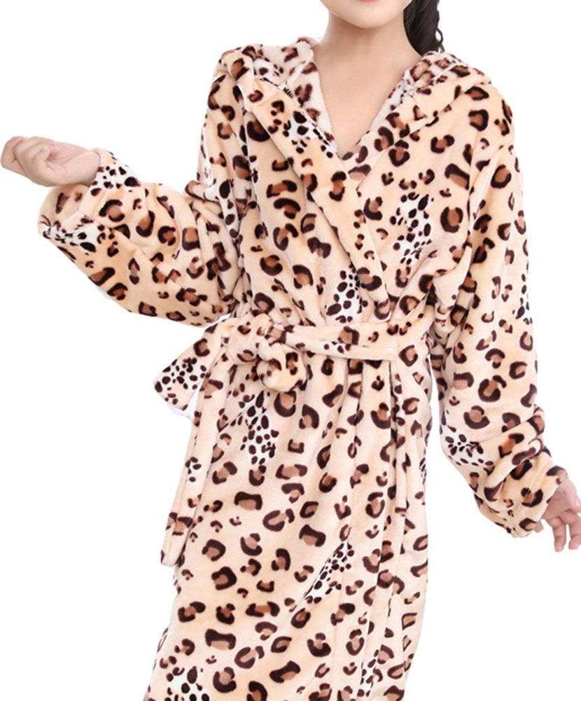 AGOWOO Little Big Kids Boys Girls Bath Robe Cool Leopard Flannel Bathrobe
