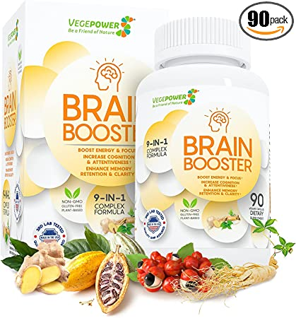 Vegepower Brain Support Supplement 90 Caps-9-IN-1 Premium Energy Memory Booster Nootropic Pills for Brain Fog-Plant-Based Formula Improve Focus w/Ginger, Guarana & Ginseng, Vitamin B12 Men & Women