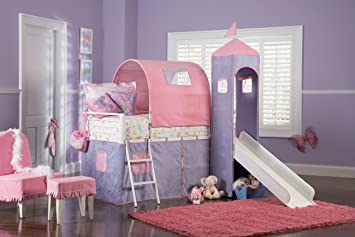 Powell Princess Castle Twin Tent Bunk Bed with Slide & Amazon.com: Powell Princess Castle Twin Tent Bunk Bed with Slide ...