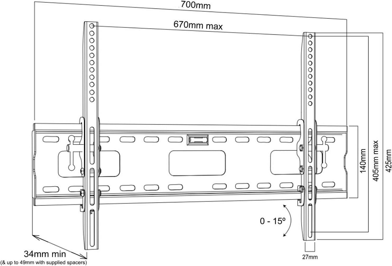 Intecbrackets® - Soporte de pared para televisores de 37-70