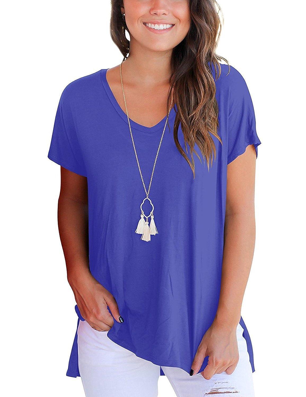 DRESHOW Shirt Ample /à Manches Courtes /à Manches Courtes pour Femmes de Tops Basiques avec Fentes Lat/érales
