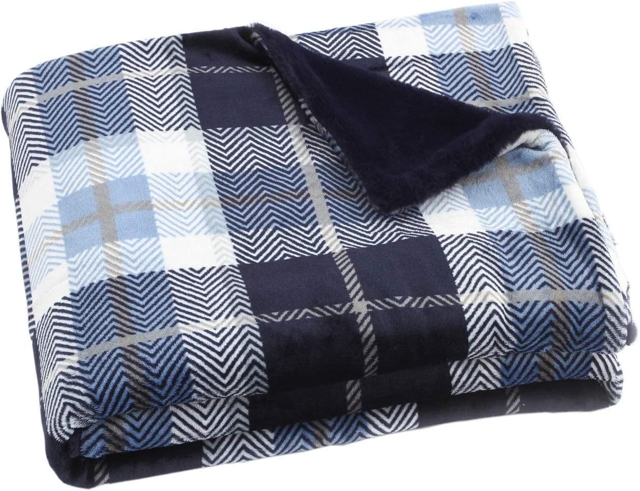 """Fleece Throw Blanket with Plaid Cozy Flannel  Luxury Blanket for Bed 50x60/"""""""