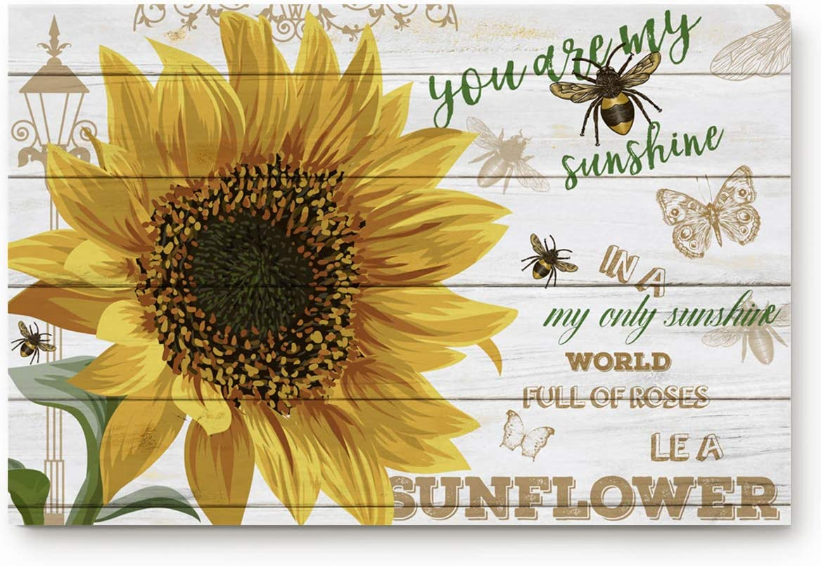 Segard Sunflowers and Bee Doormats Entrance Front Door Rugs Wooden Board Decorative Indoor Bathroom Kitchen Bedroom Entryway Floor Bath Mats, Non-Slip Rubber Backing 20×31.5inch