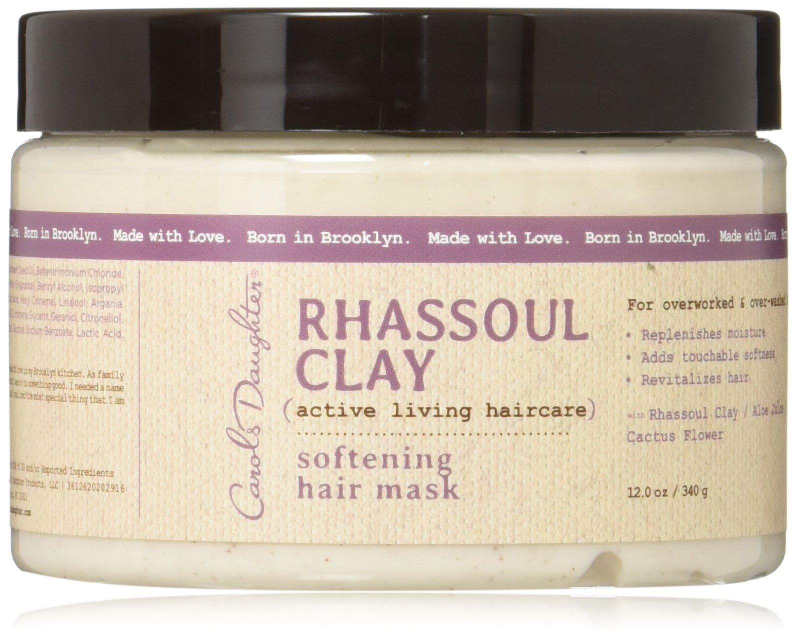 Carol's Daughter Rhassoul Clay Softening Hair Mask, For Overworked & Over-Washed Hair, 12 oz (Packaging May Vary)