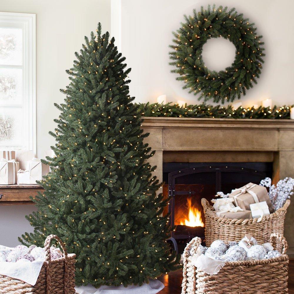 Balsam Hill Classic Blue Spruce Narrow Prelit Artificial Christmas Tree, 7 Feet , Clear Lights