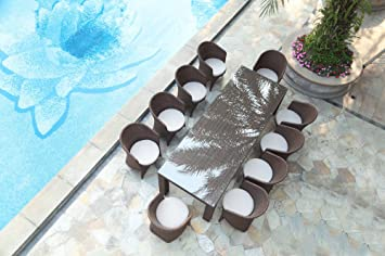 Ceets Palm 10 Seat Outdoor Dining Set, Brown