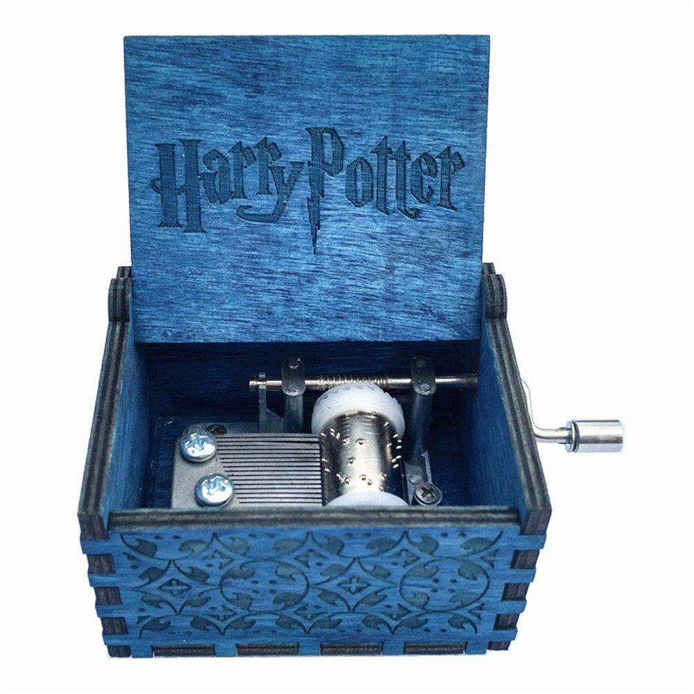 Bleu gravé en bois Boîte à musique à manivelle–Harry Potter Thème China