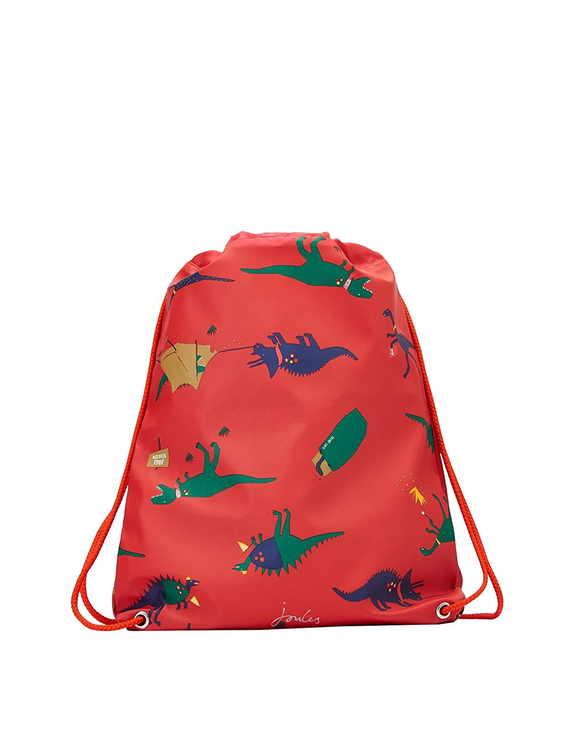 Joules Rubber Drawstring Bag - Red Dinosaur