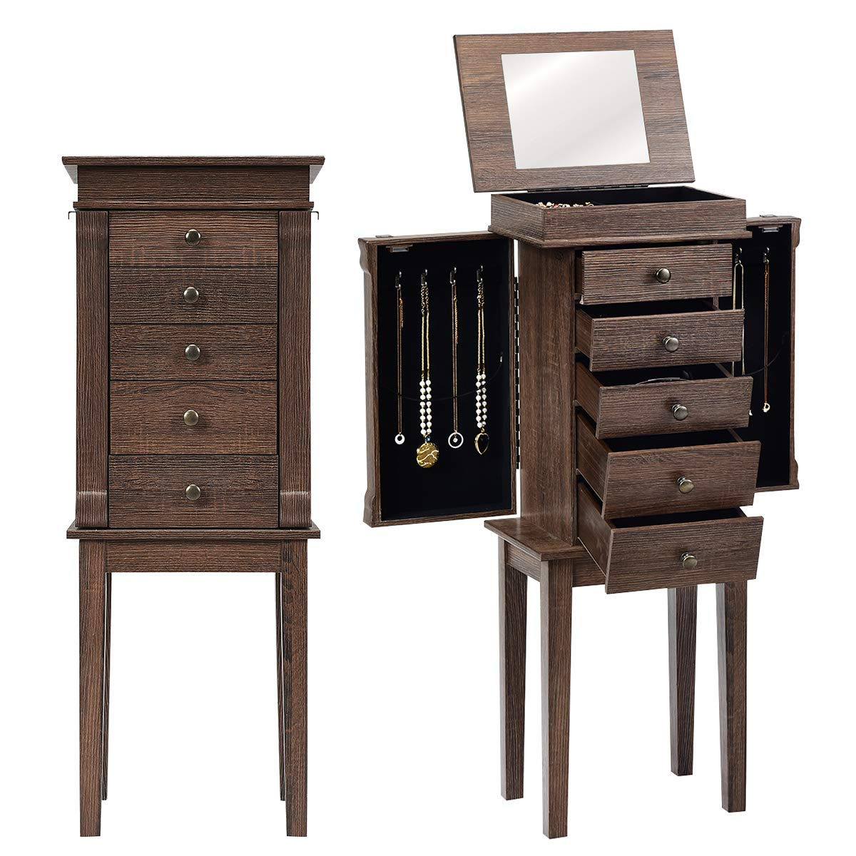CHARMAID Standing Jewelry Armoire with 5 Drawers & 8 Necklace Hooks, Jewelry Chest Cabinet with Top Storage Organizer Flip Mirror, 2 Side Swing Doors, Standing Jewelry Cabinets (Brown)