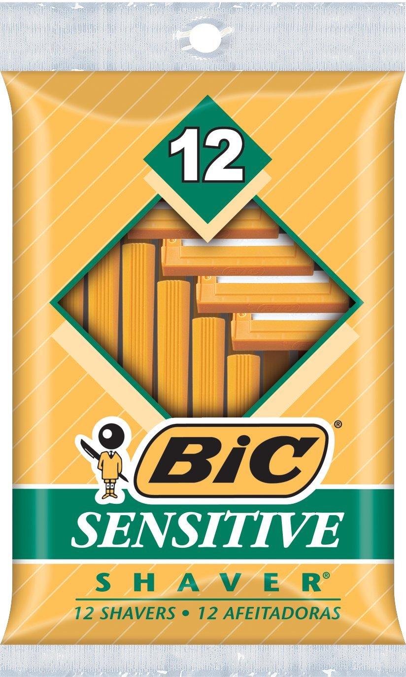 BIC Sensitive Shaver Men's Single Blade Disposable Razor, (Pack of 12) SOP121